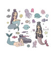 set with cute cartoon mermaids marine theme vector image