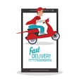 smartphone motorcycle man delivery icon vector image vector image