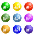 team work conference icons set vector image vector image