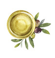 watercolor card with olive oil bowl and vector image