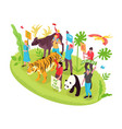 wildlife protection isometric concept vector image vector image