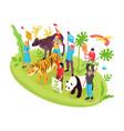 Wildlife protection isometric concept