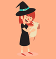 Witch Standing and Holding her new Puppy vector image vector image
