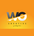 wo w o letter modern logo design with yellow vector image vector image