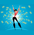woman in rain of money vector image