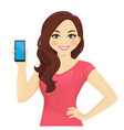 woman showing phone vector image