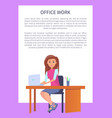 woman typing on laptop sitting at table vector image vector image