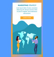 young man and woman stand at world map banner vector image vector image