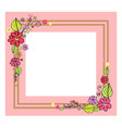 pink frame with flowers on vector image