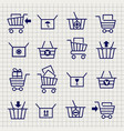 shopping cart or trolley sketch icons vector image