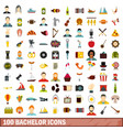 100 bachelor icons set flat style vector image