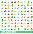 100 natural icons set isometric 3d style vector image