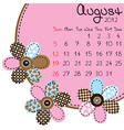 2012 august calendar vector image vector image