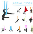 aerial yoga set with young woman silhouettes vector image vector image