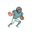 American Football Player Stiff Arm Caricature vector image vector image