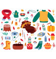 autumn elements fall cartoon hygge cozy sweater vector image vector image