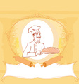 baker cartoon character presenting freshly baked vector image