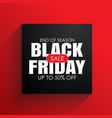 black friday sale banner with white text on black vector image vector image