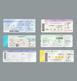 boarding pass tickets with barcodes and qr codes vector image vector image