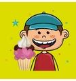 boy cup cake dessert vector image vector image