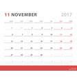 calendar planner 2017 november week starts monday vector image vector image