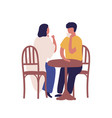 cartoon couple drinking coffee together sitting at vector image vector image