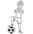 cartoon of football soccer player posing with a vector image vector image