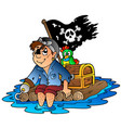 cartoon pirate sailing on raft vector image