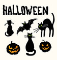 cats pumpkin lanterns bat and halloween title vector image vector image