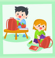 children boy and girl getting ready for school vector image vector image