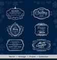christmas and new year vintage silver frame vector image vector image