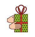 christmas hand holding gift box celebration vector image