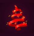 christmas tree made red ribbon new year and vector image vector image