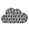 cloud figure of intellect gears icons vector image