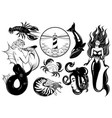 collection hand drawn realistic marine vector image vector image