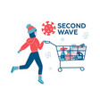 coronavirus second wave winter shopping young vector image