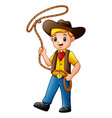 cowboy kid twirling a lasso vector image vector image