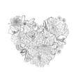 decorative heart with line garden flowers vector image
