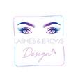 eyelashes and eyebrows make up design logo vector image vector image