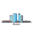 flat line boston banner vector image vector image