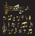 gold musical note set collection vector image vector image