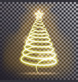 golden christmas tree light tree effect with big vector image