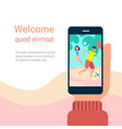 hand hold smartphone app couple playing beach vector image vector image