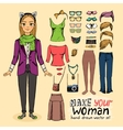 Hipster pretty girl with accessories vector image vector image