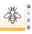 honey bee simple black thin line icon vector image