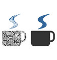 hot coffee cup collage of service tools vector image vector image