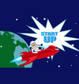 impetuous startup launch flat color vector image vector image