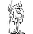 knight in armor cartoon coloring page vector image