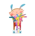 Little kid hugging rabbits funny cute toys vector image vector image