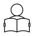 man reading a book line icon for web mobile and vector image